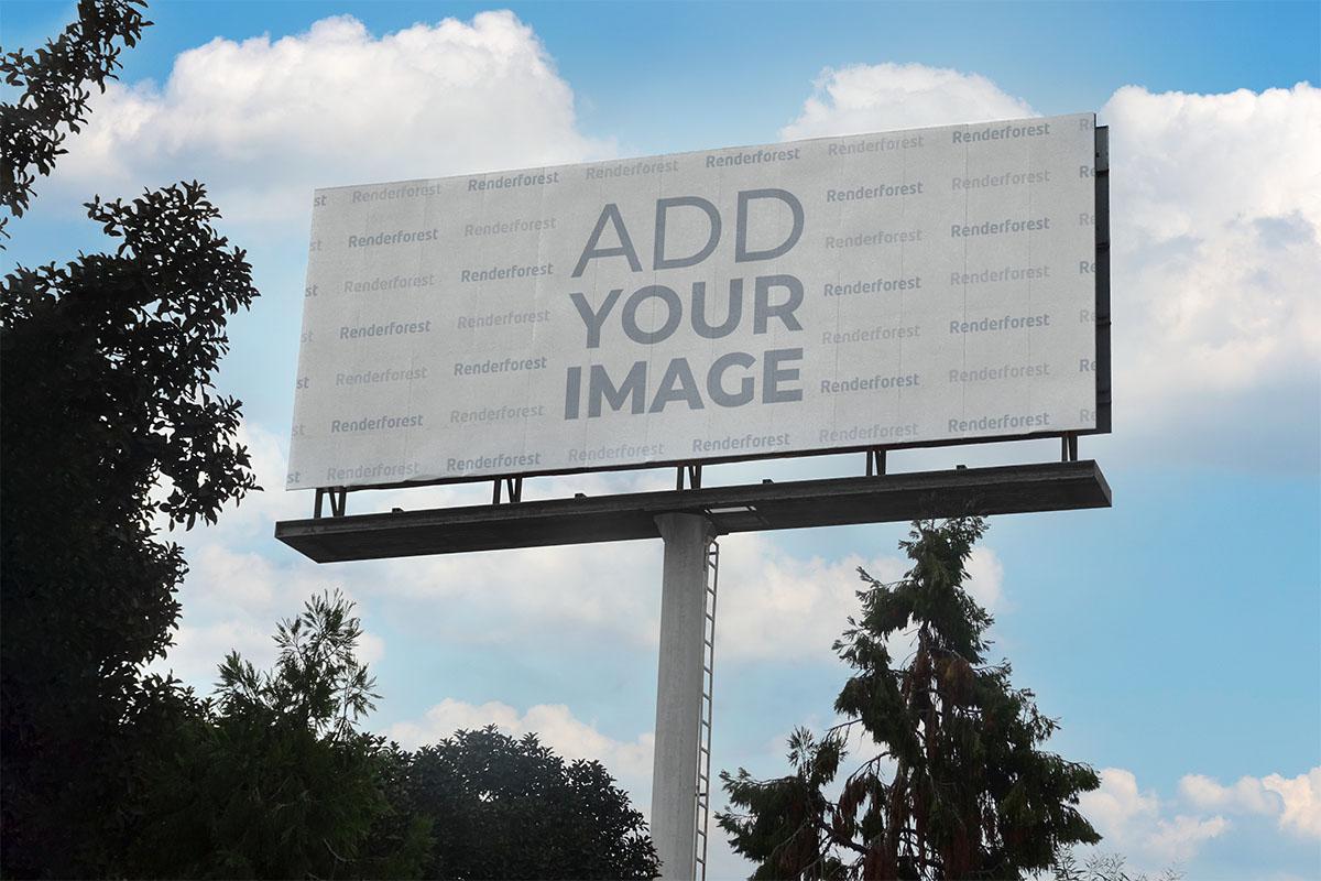 Long Horizontal Billboard Against Trees