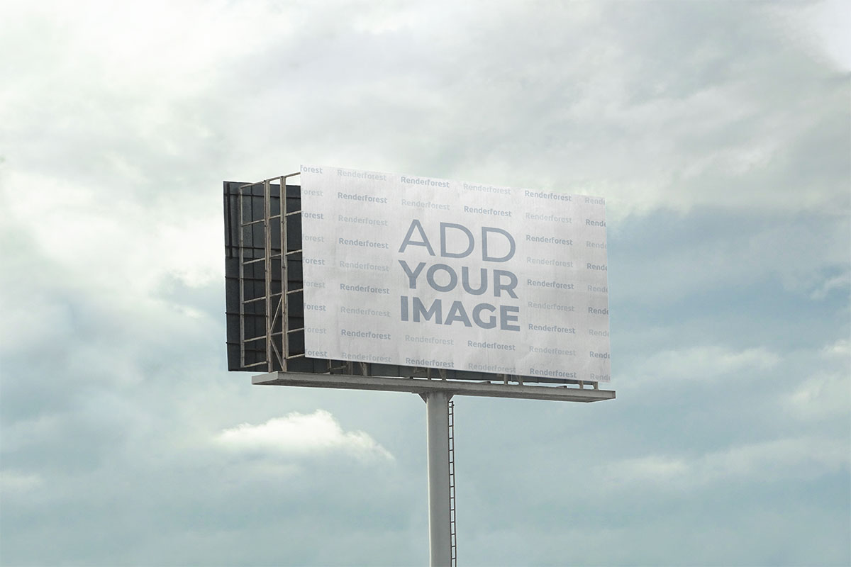 Zoomed-out Highway Billboard Against the Sky