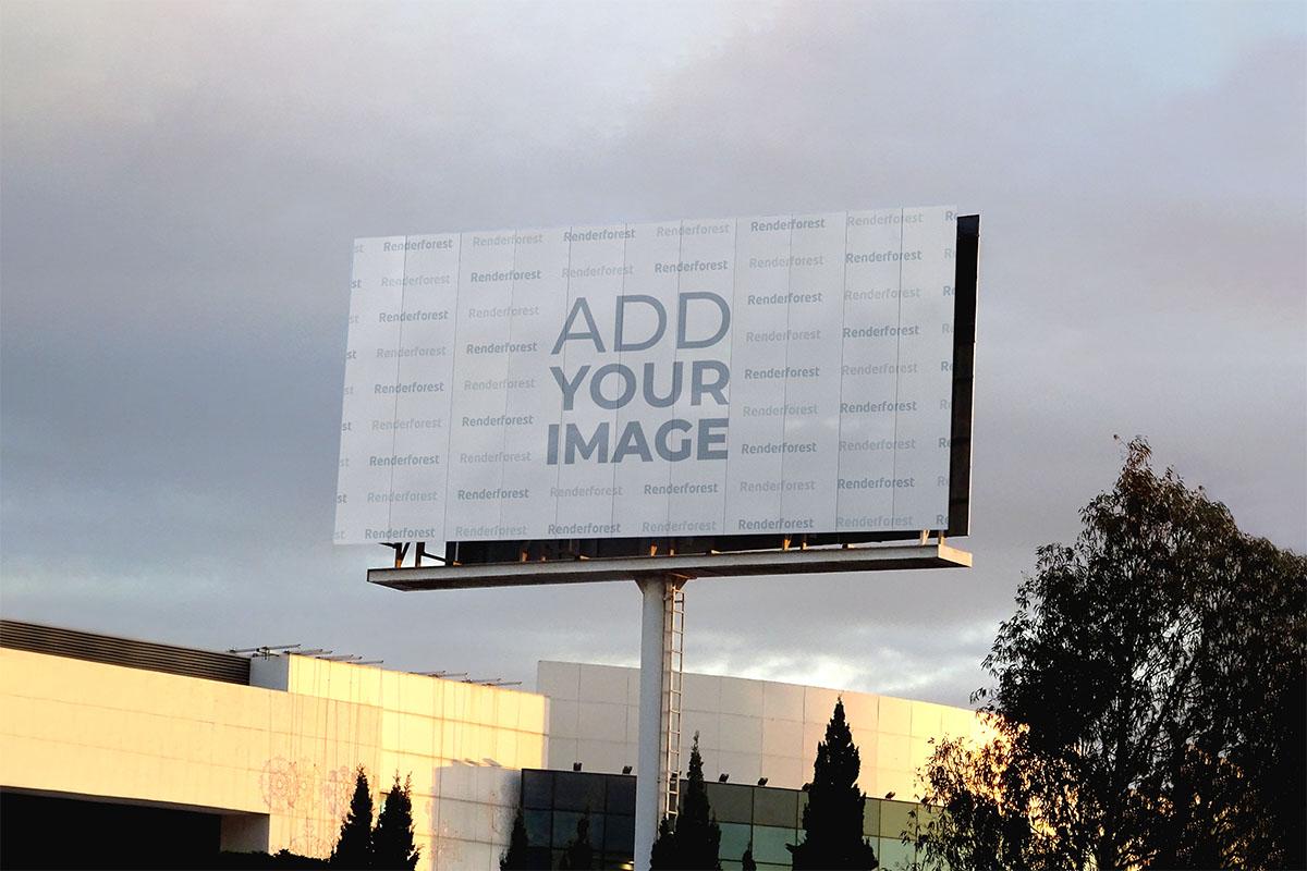Long Horizontal Billboard Against Buildings