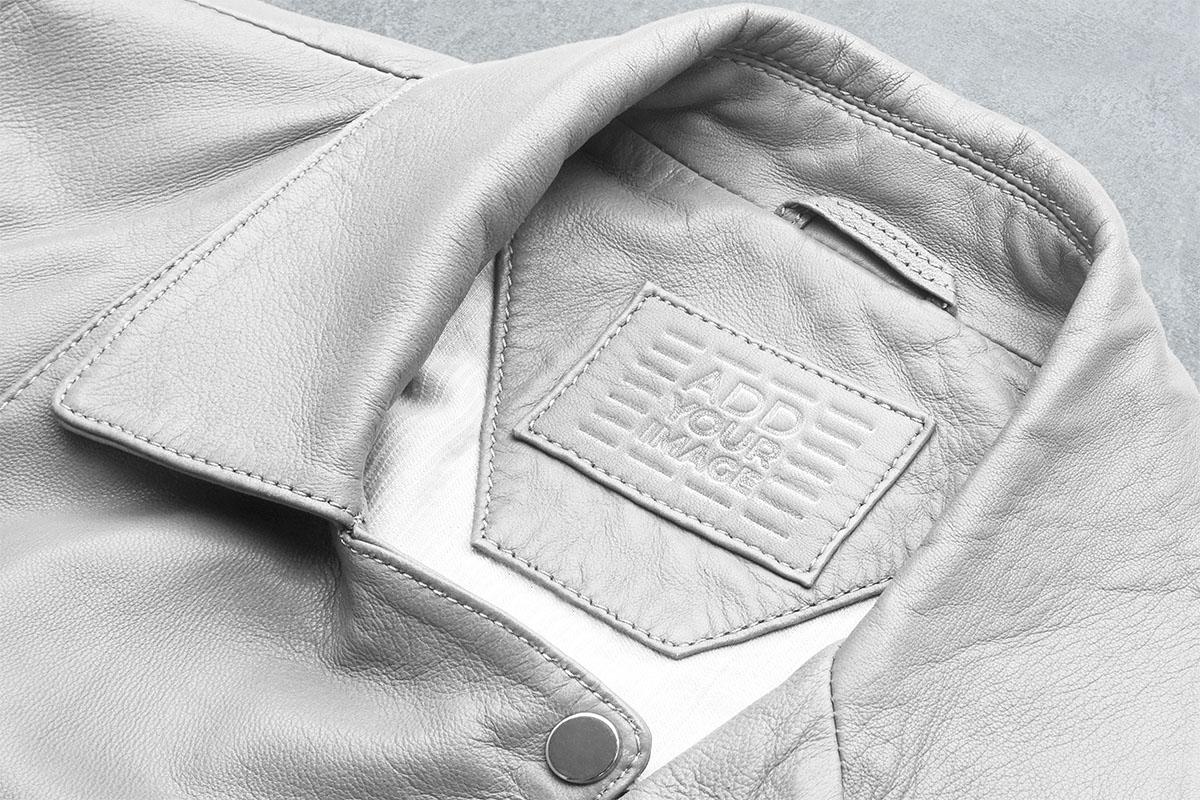 革のジャケットのタグ