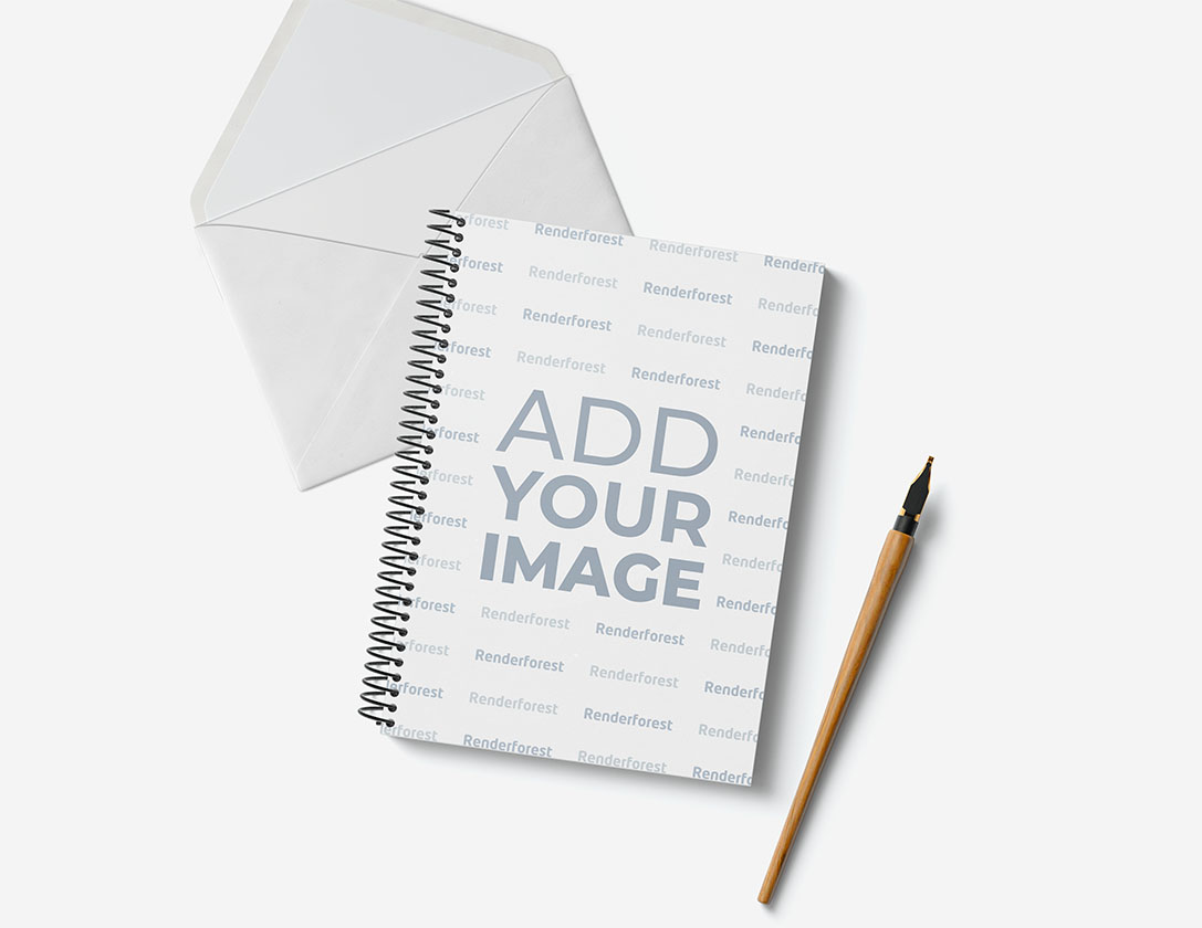 Скетчбук, конверт и перьевая ручка