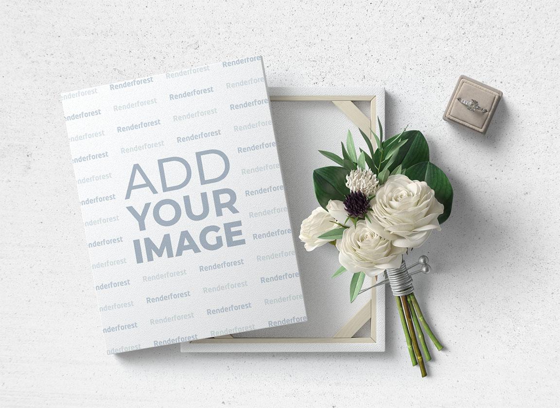 Bouquet de fleurs et boîte bague avec une alliance