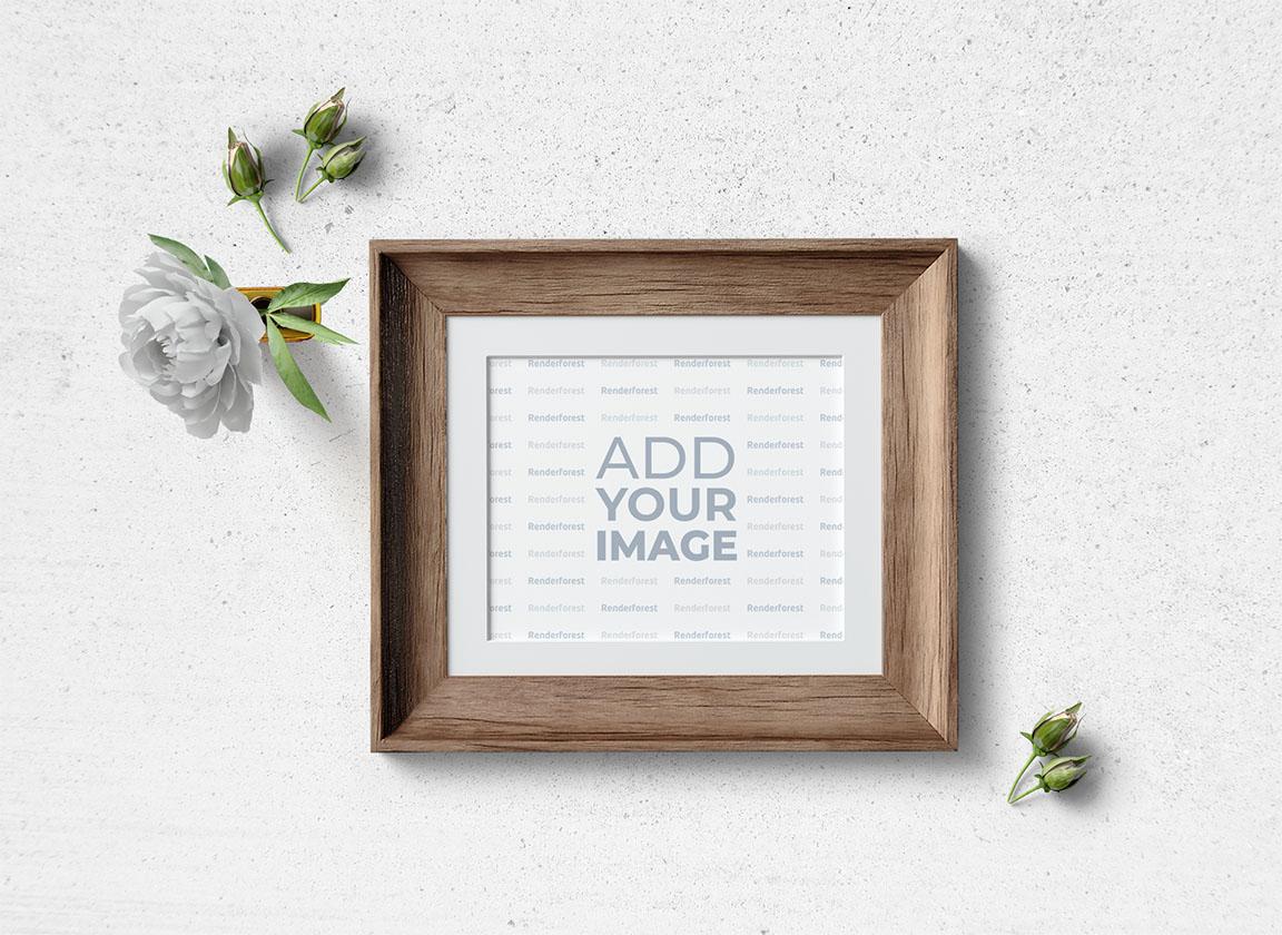 Cadre carré en bois avec boutons de fleurs