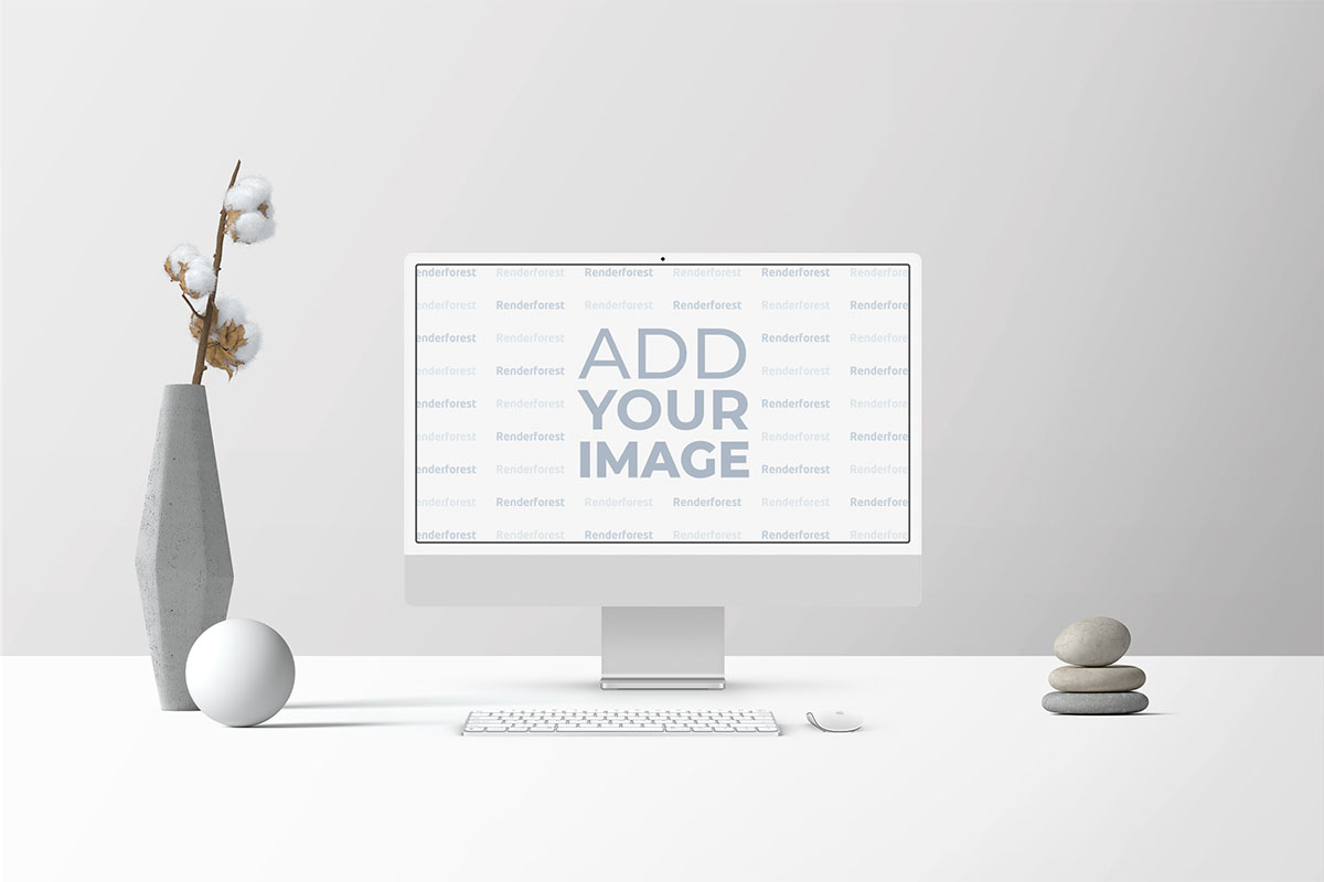 Conjunto de iMac com um Vaso e Decorações em Pedra