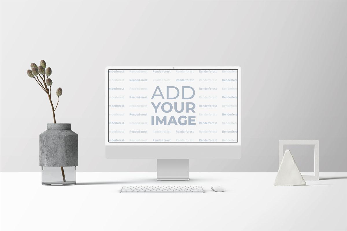 Espaço de Trabalho iMac com Palhetas em Vasos e Decorações