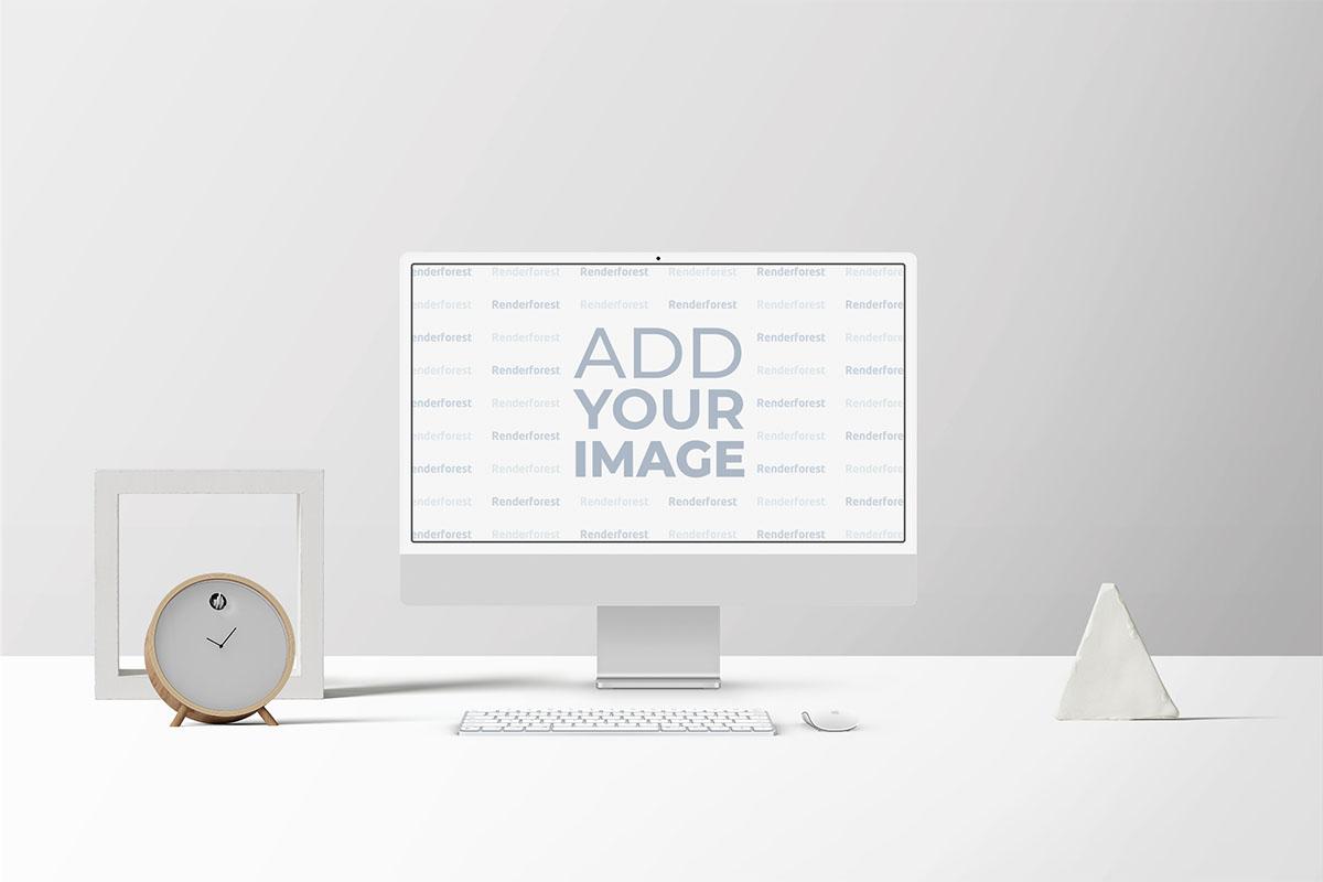 Espaço de Trabalho iMac com Relógio de Mesa e Decorações