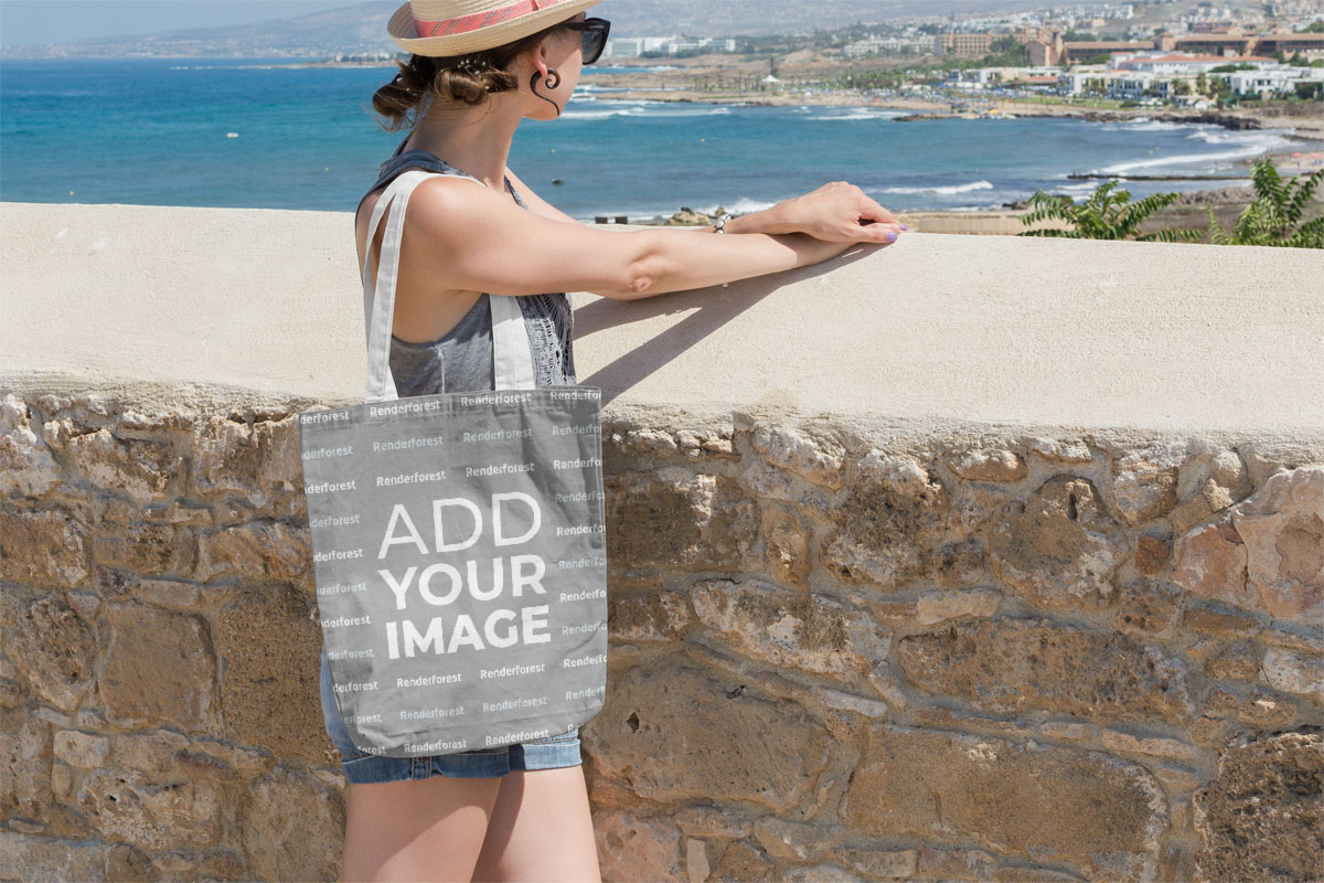 Woman Standing with a Canvas Tote Bag