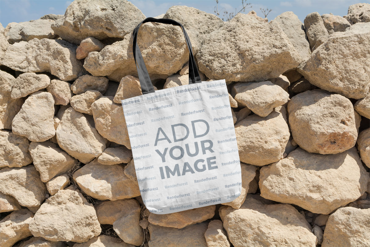 Canvas Bag Hanging on a Stone Wall