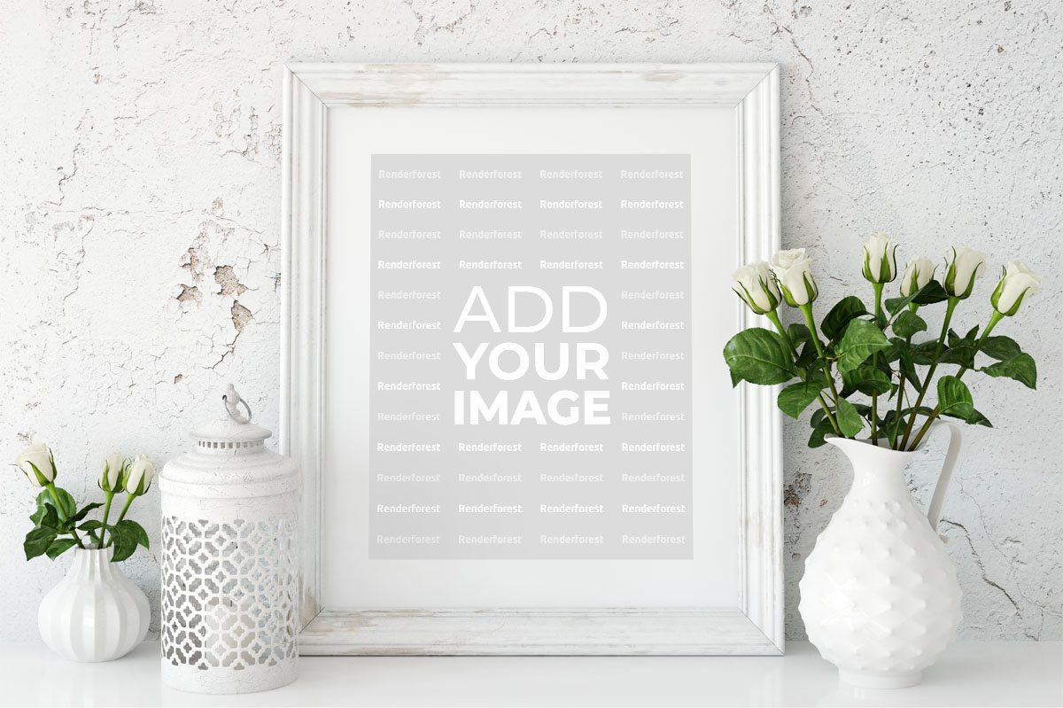 Minimal Photo Frame with a Flower Vase