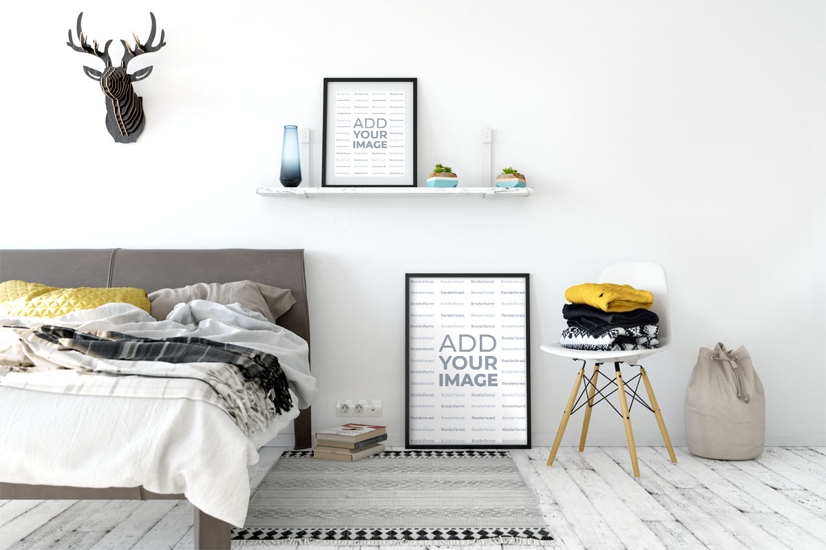 Modernes Schlafzimmer-Wand-Rahmen-Mockup
