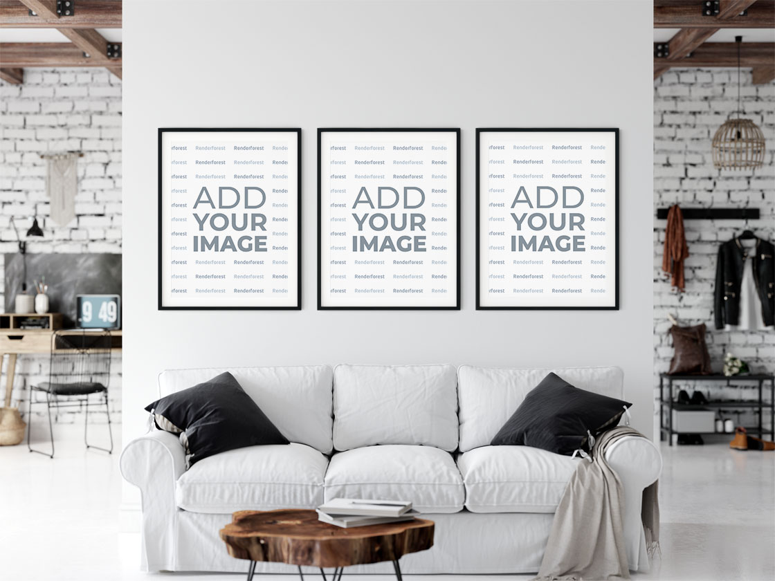Three Similar Frames Above Sofa