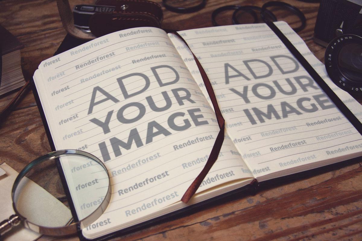 Geöffnetes Vintage Hardcover-Notizbuch