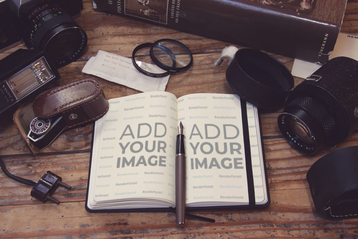 Notebook und Fotoausrüstung