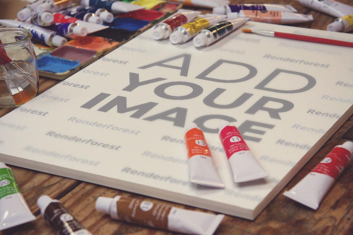 Zeichnungs-Leinwände und Kunstutensilien