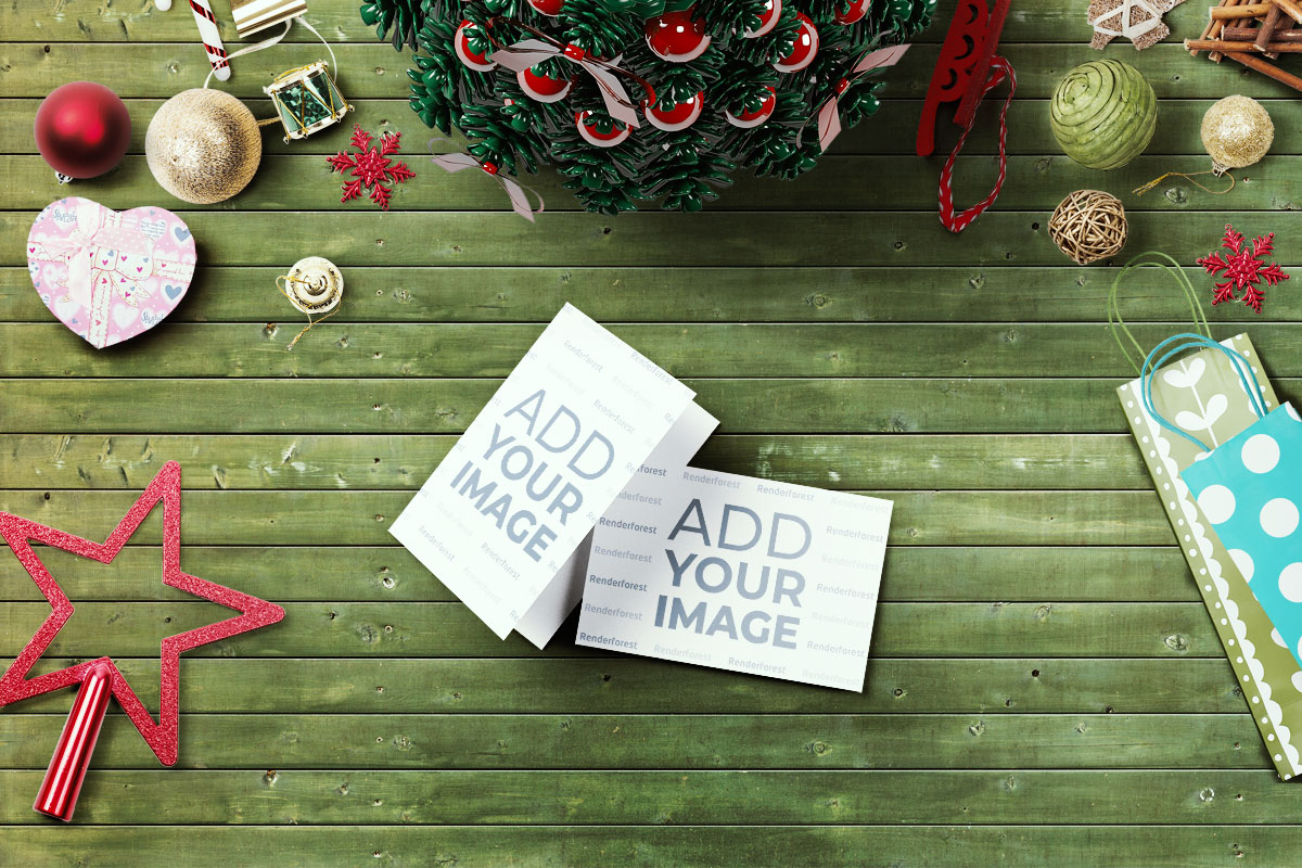 Christmas Assets on a Wooden Background