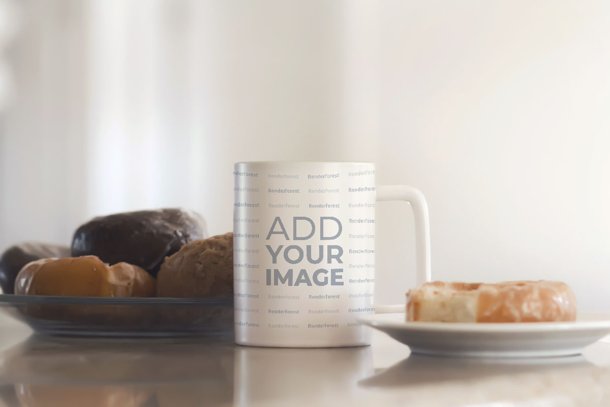 Mug and Donuts on a Table