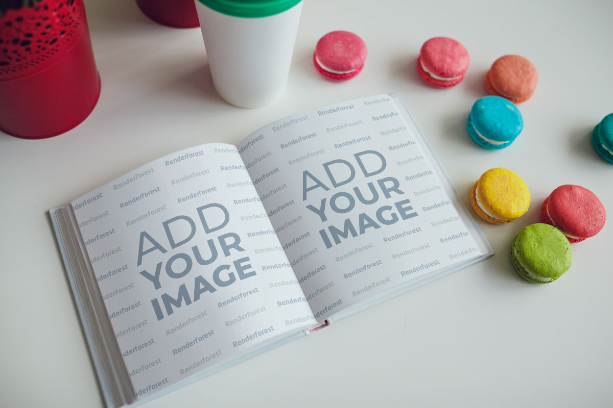 Open Recipe Book with Macarons