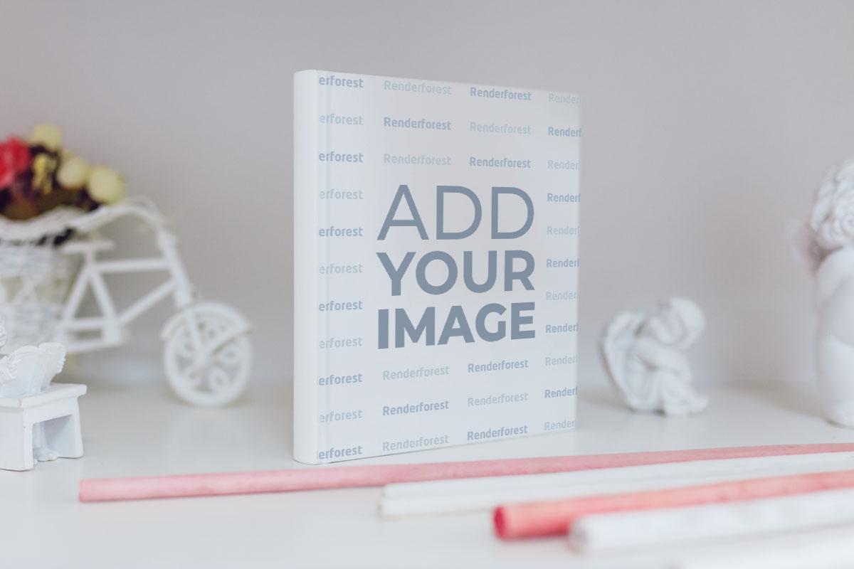 Vertical Recipe Book on a Shelf