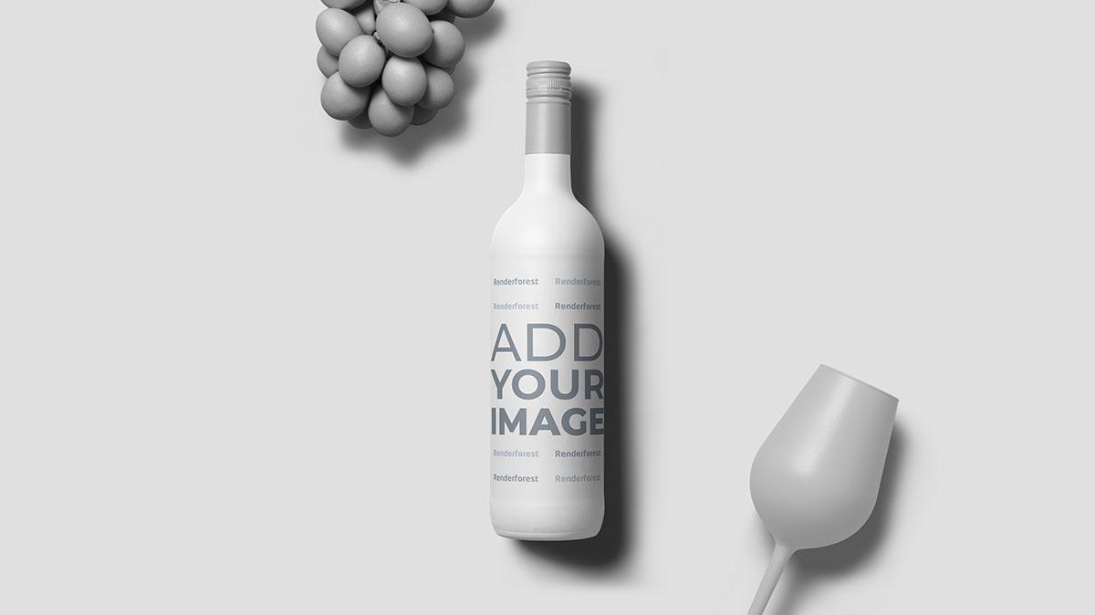 Weinflasche mit Trauben und Glas