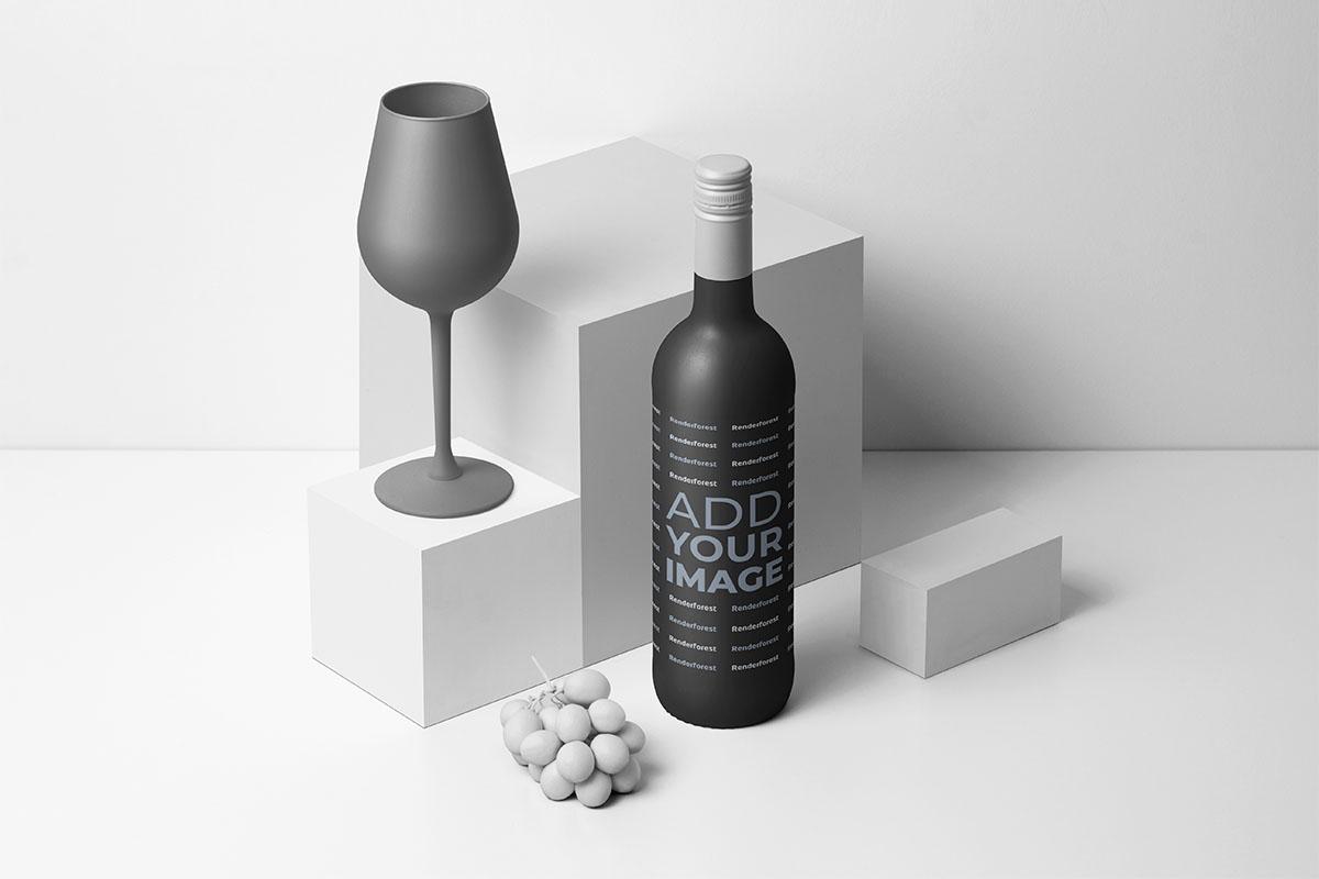 Botella de vino junto a una copa de vino