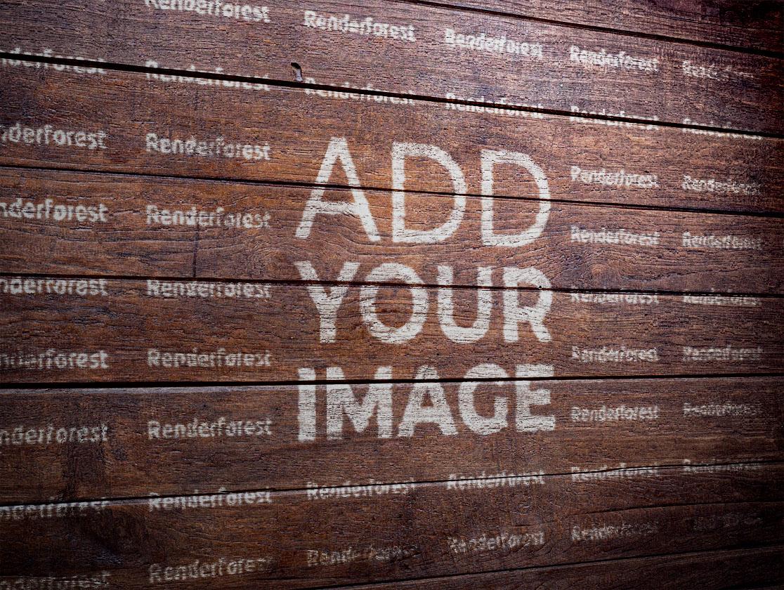 Логотип на деревянной стене