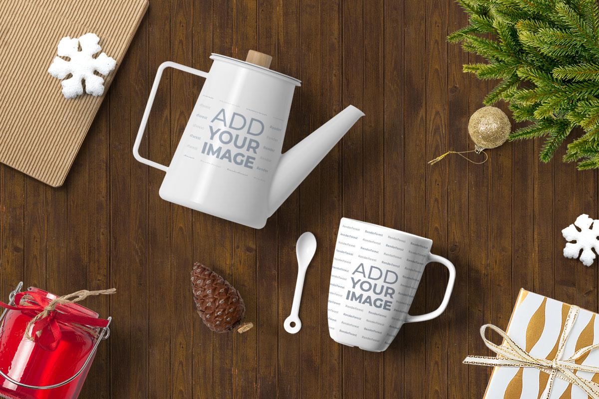 Ahşap Zemin Üzerinde Çaydanlık ve Kupa