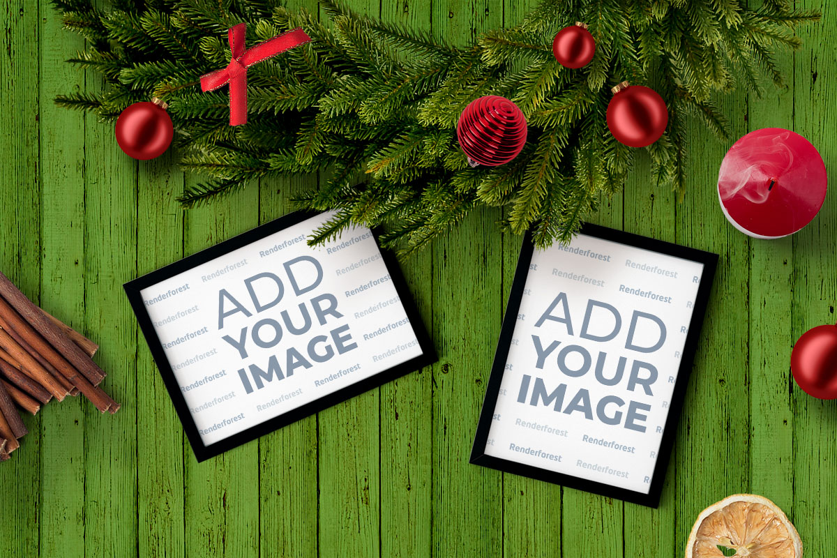 Photo Frames Under Christmas Wreath