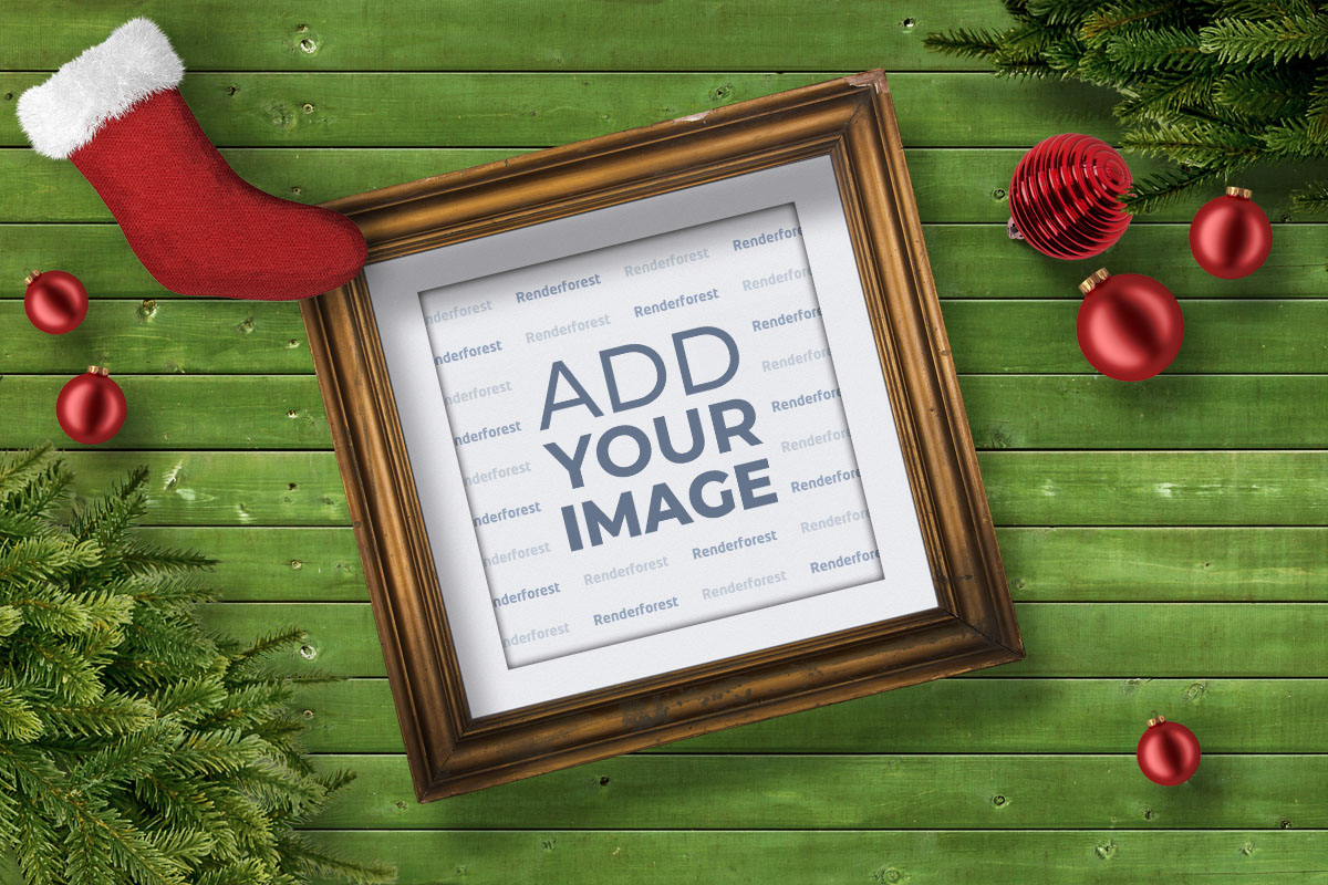 Retro Photo Frame on a Christmas Background