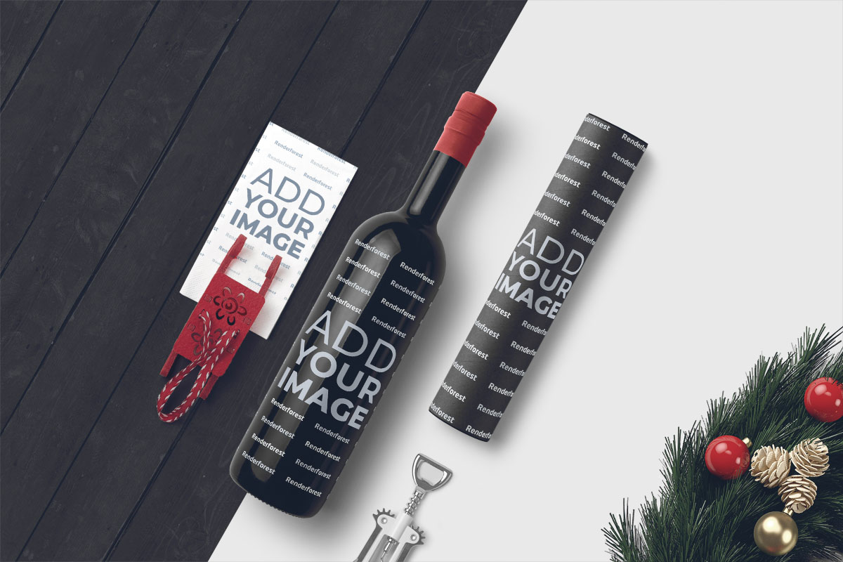 Wine Bottle and a Paper Tube