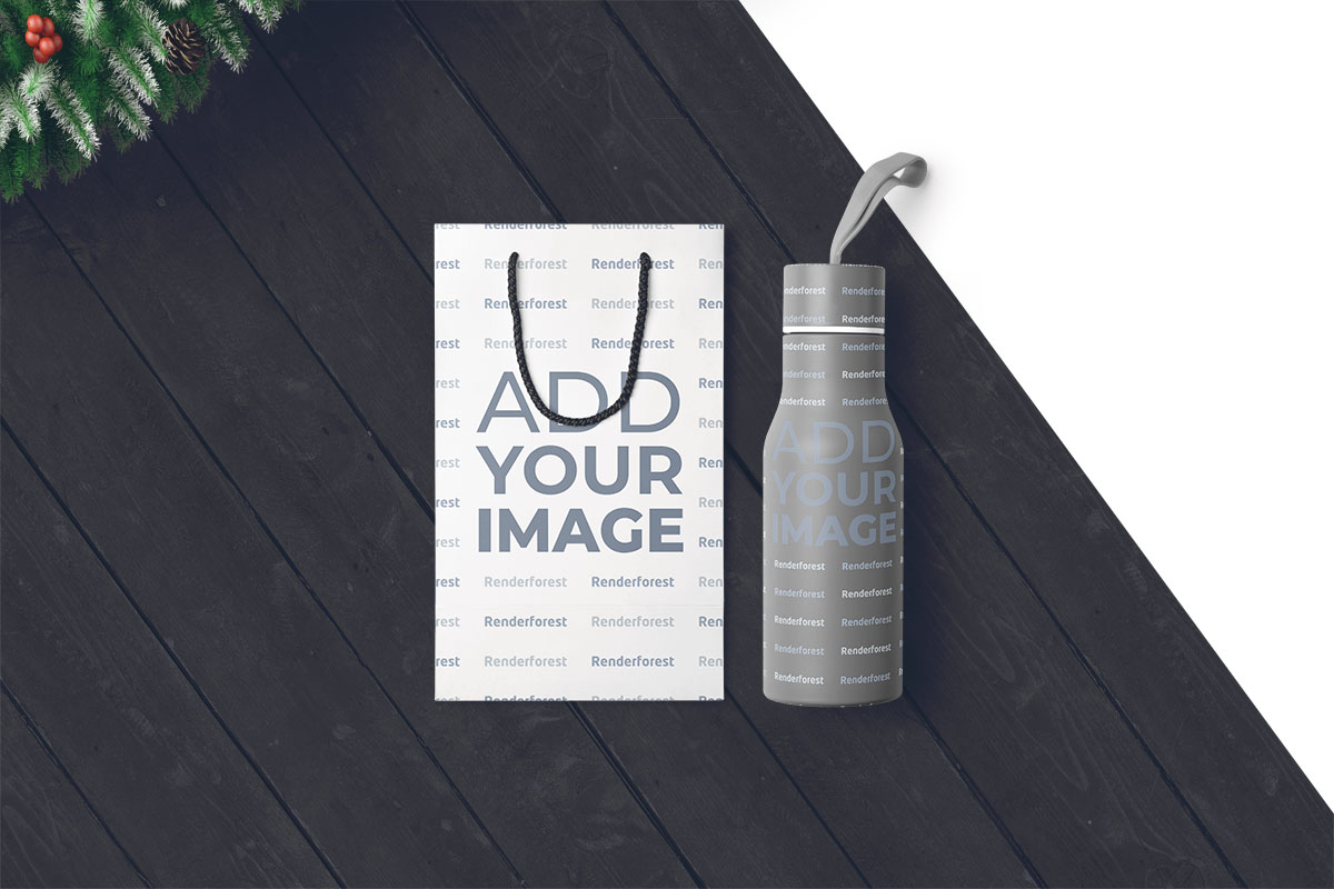 Christmas Bottle Bags on a Wooden Background