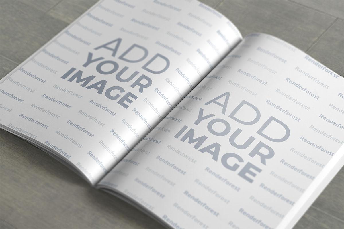 Kapağı Açık ve Köşeleri Görünmeyen Dergi Mockup'ı