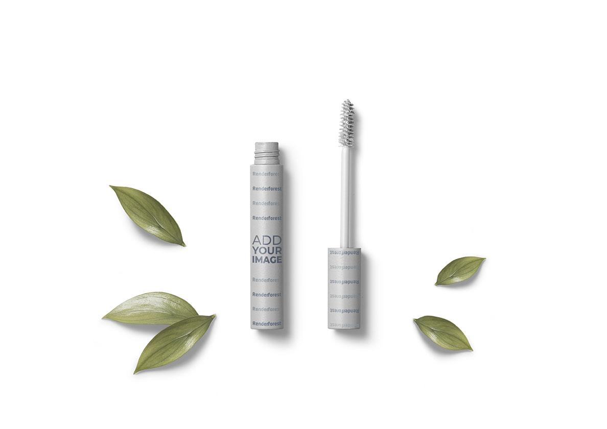 Mascara Mockup und grüne Blätter
