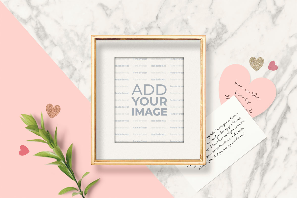 Valentine's Photo Frame with a Greeting Card