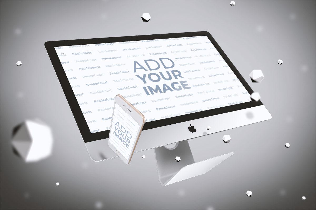 iMac y iPhone en el aire