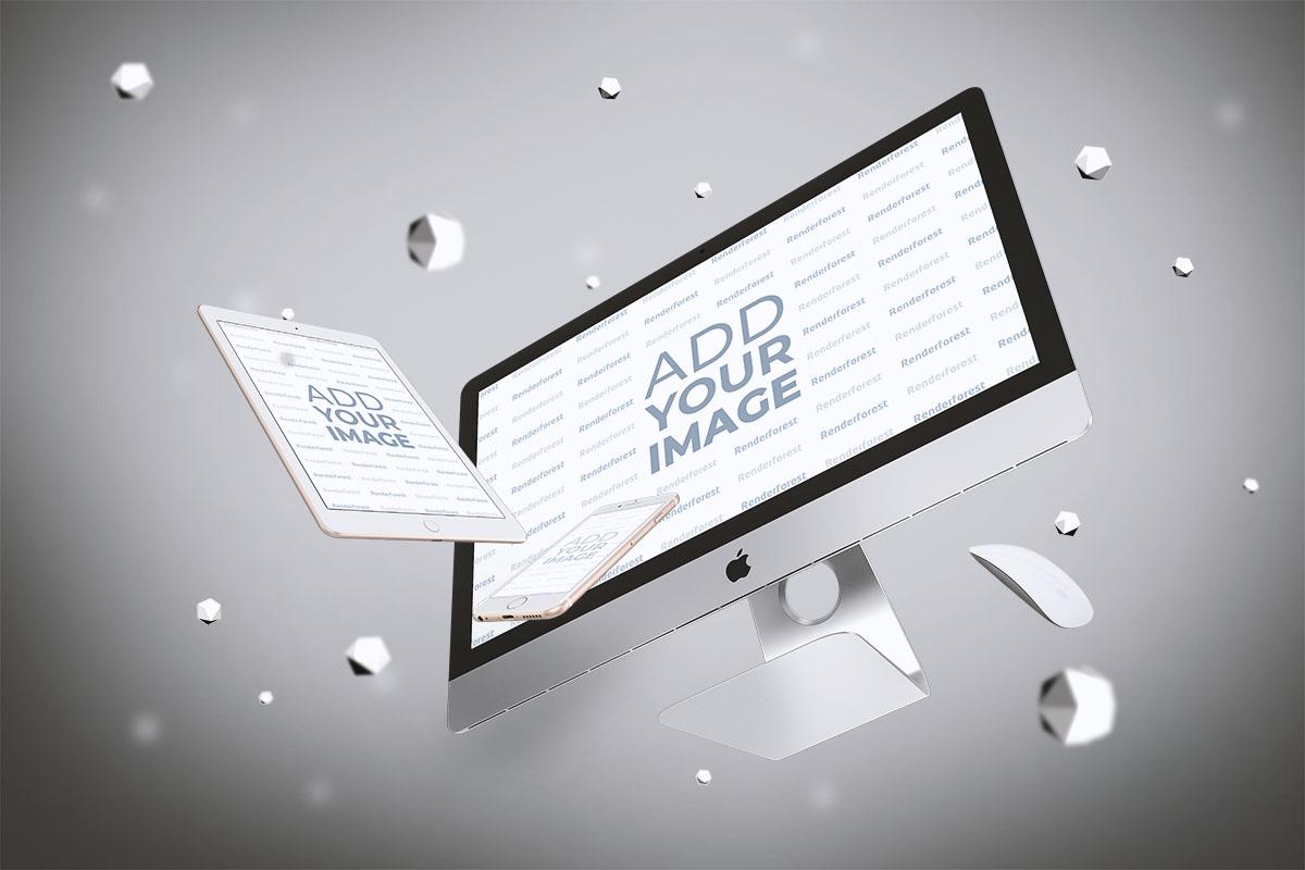 iMac y iPad en el aire
