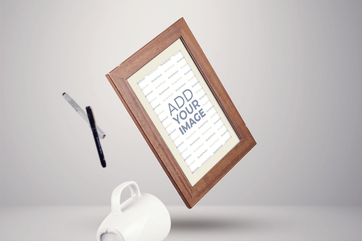 Wooden Frame on a Grey Background