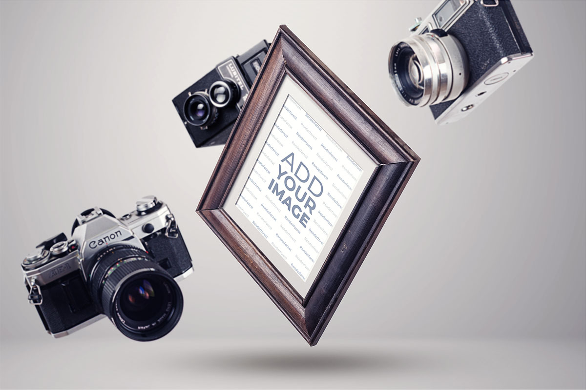 Wooden Frame with Photo Cameras