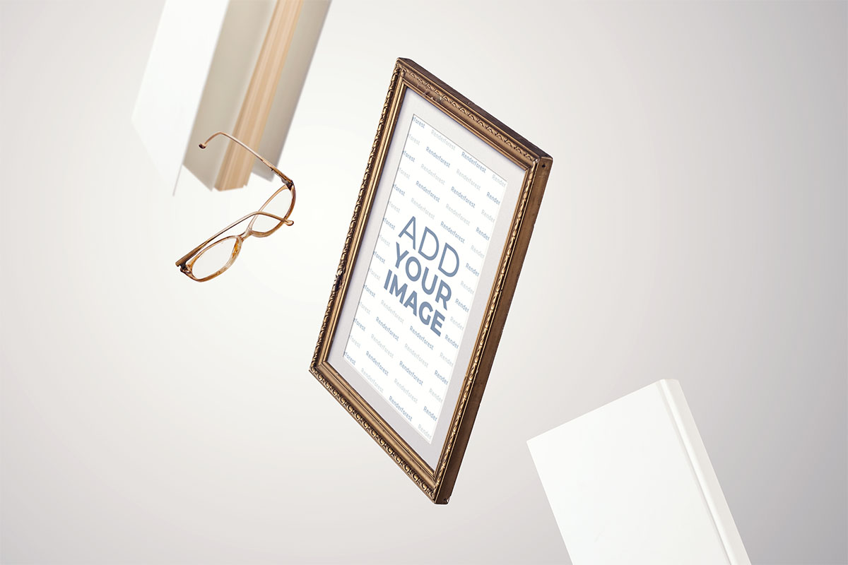 Retro Frame with Books in the Air