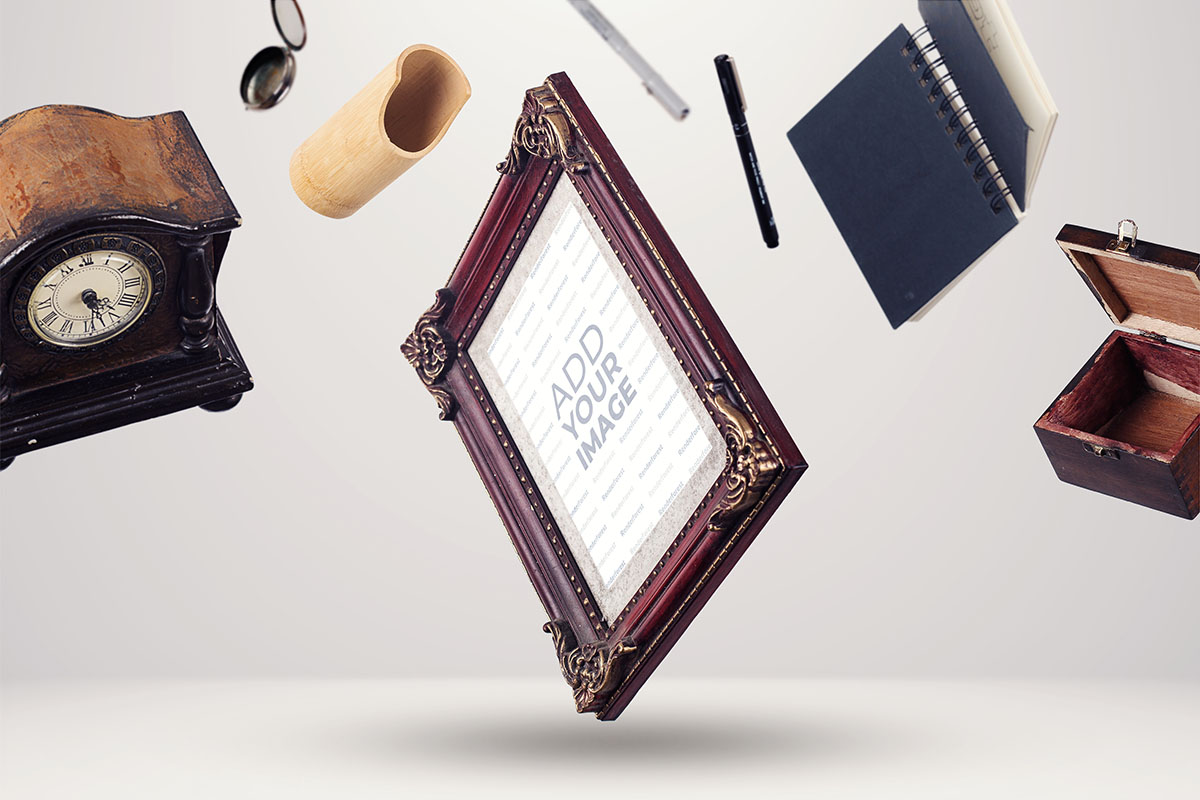 Vintage Frame with Antique Objects