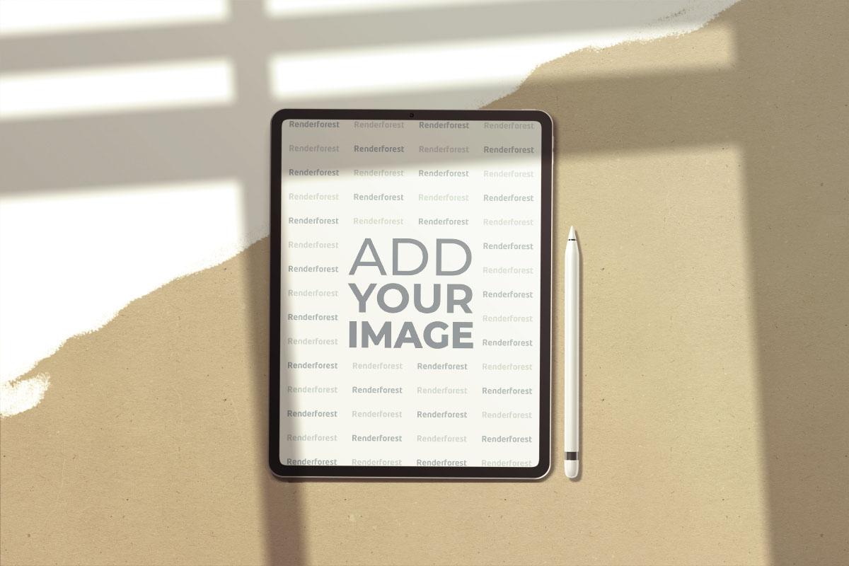 iPad avec Stylo sur un Fond Rétro