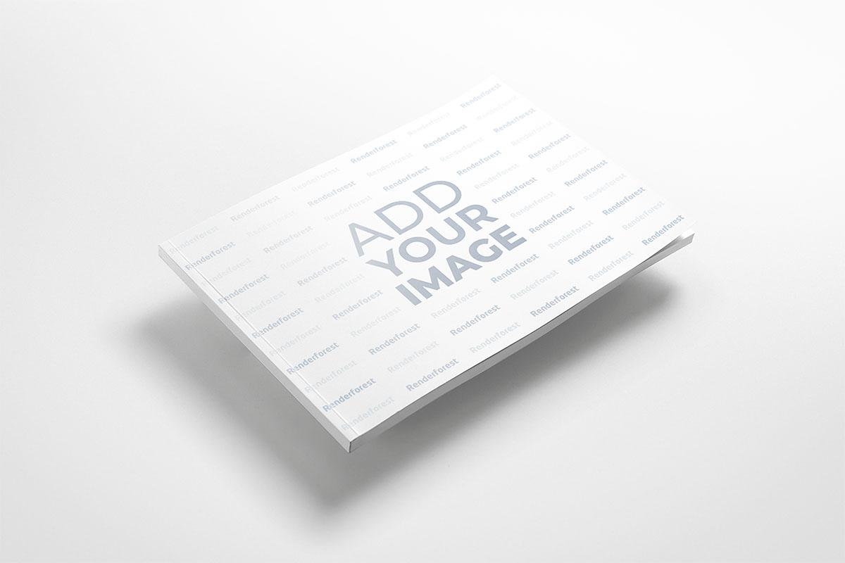 Libro horizontal delgado en el aire