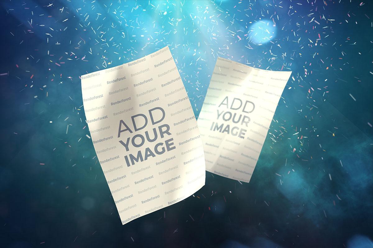 Panfletos num fundo de partículas
