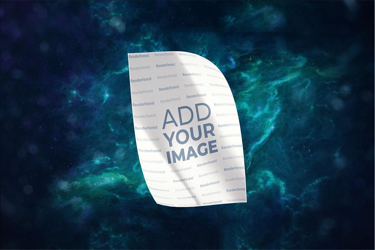 Panfleto num fundo do espaço profundo