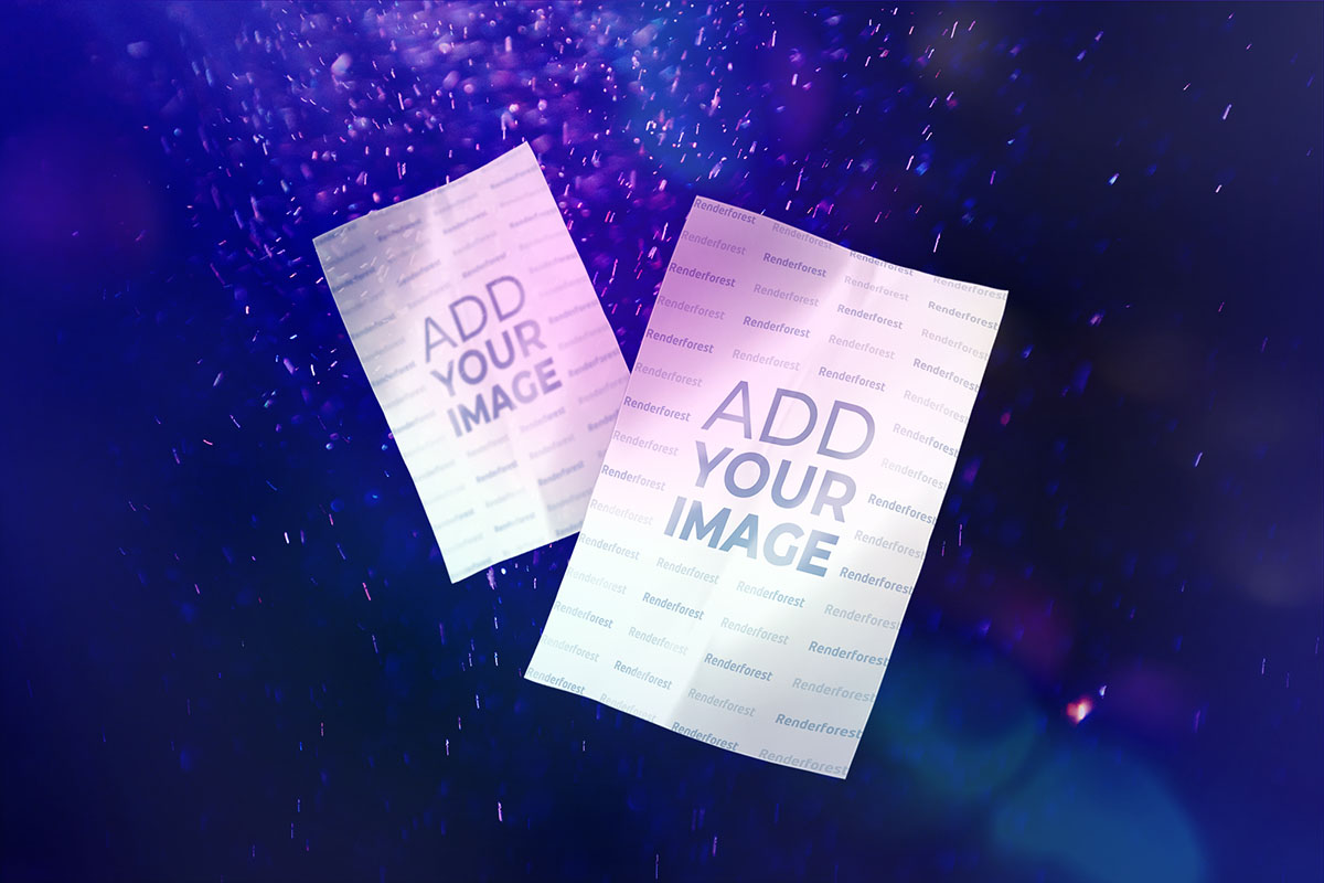 Panfletos num fundo roxo de partículas