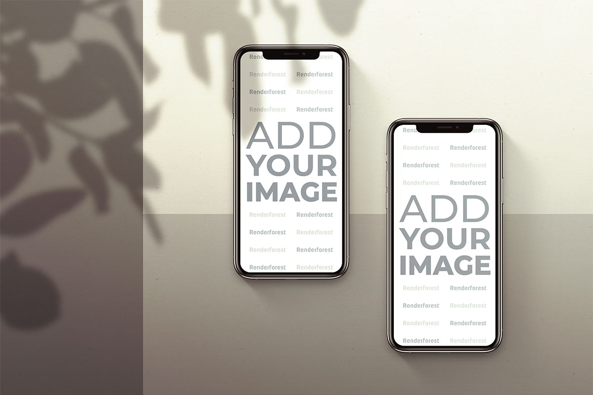 iPhones on a Brown Shaded Background