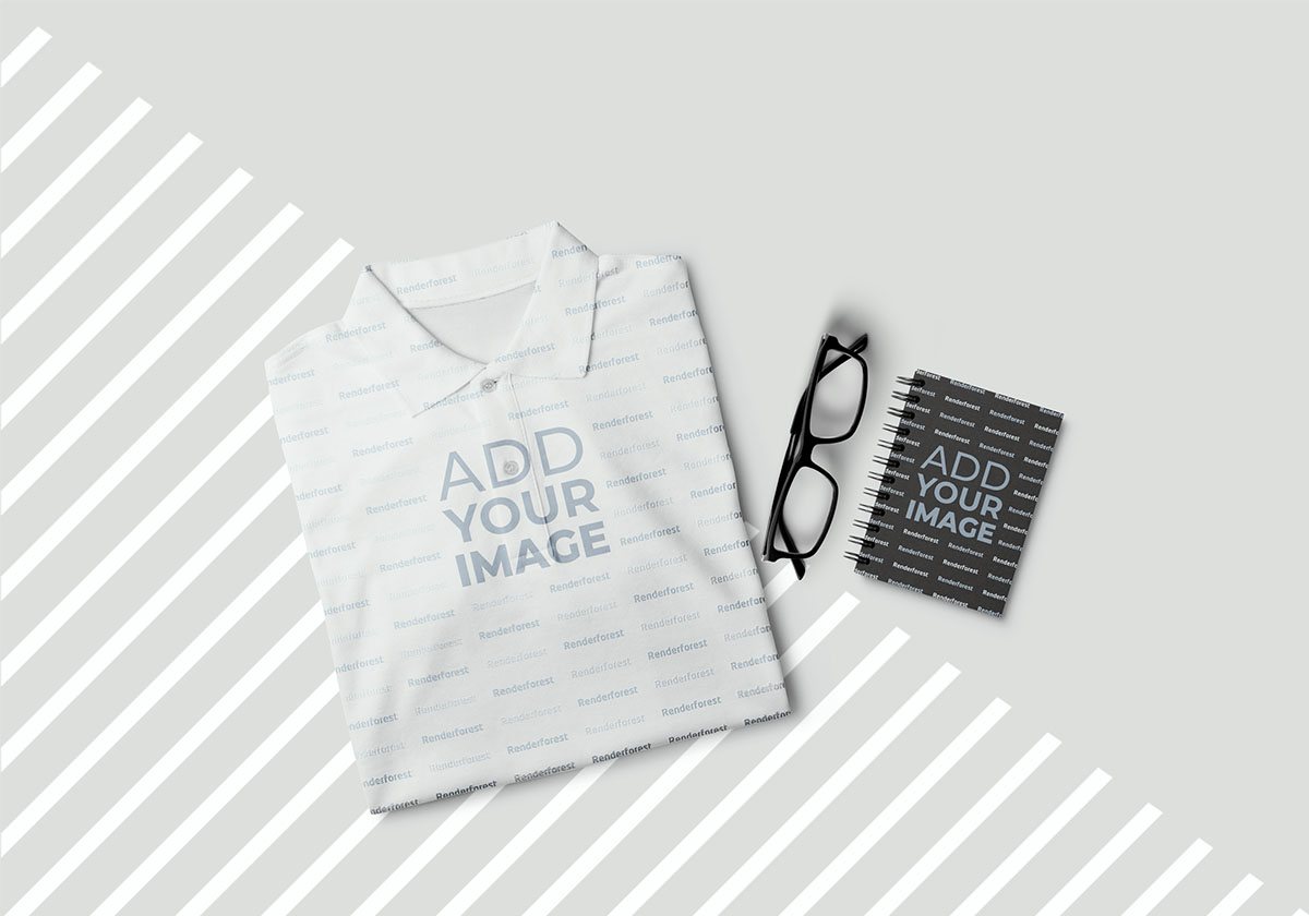 Folded T-Shirt with a Notepad and Eyeglasses