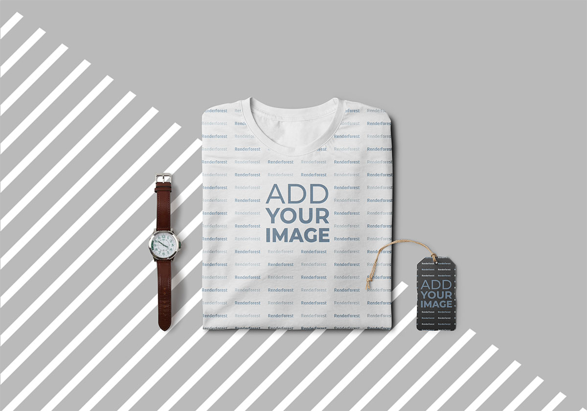 Folded T-Shirt with a Watch and a Hang Tag