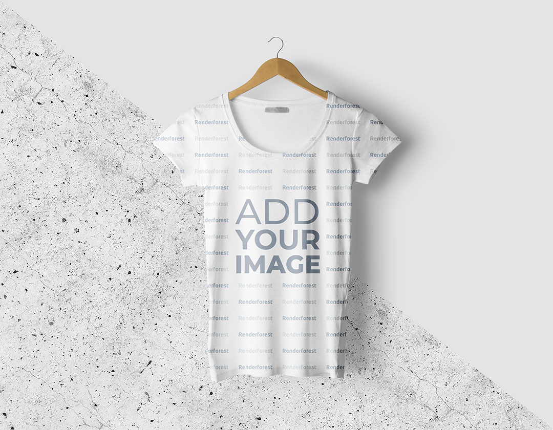 Hanging T-Shirt on a Split Background