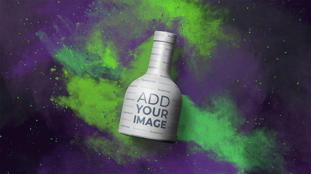 Tequila-Flasche vor farbenfrohem, rauchigem Hintergrund