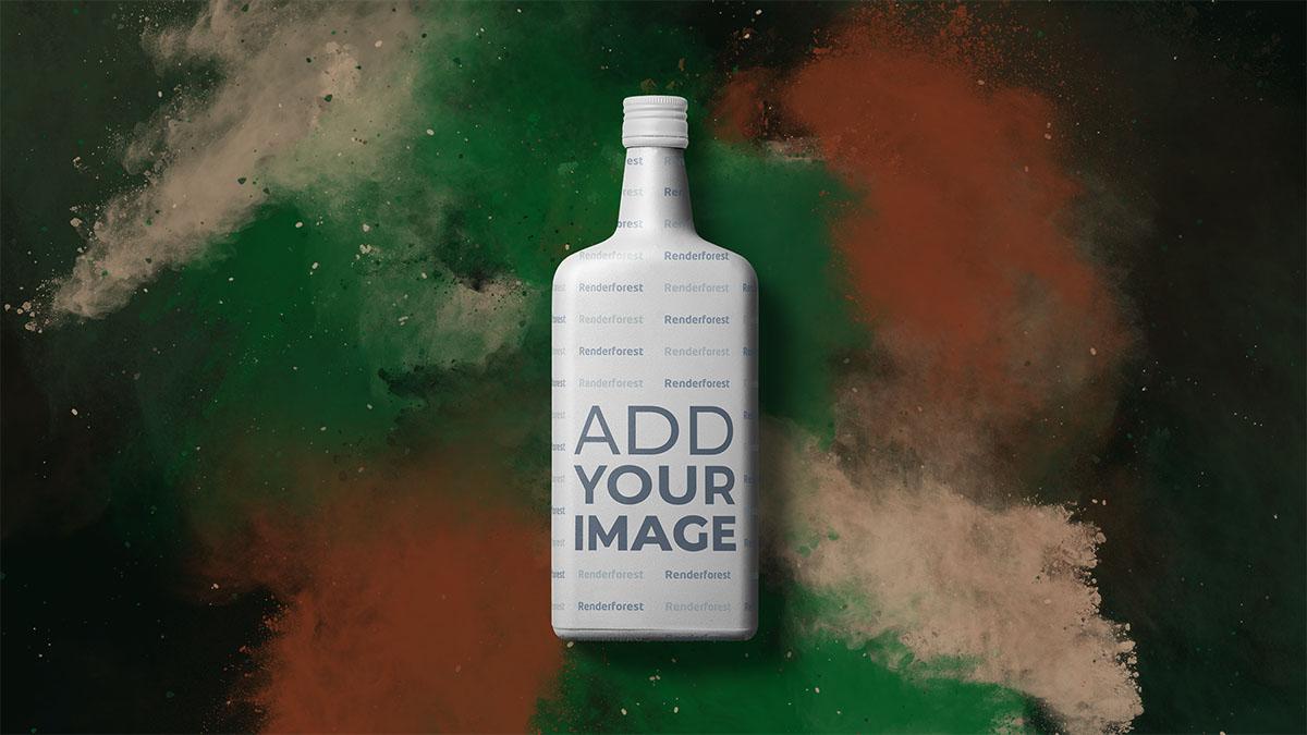 Alkoholflasche vor farbenfrohem, rauchigem Hintergrund